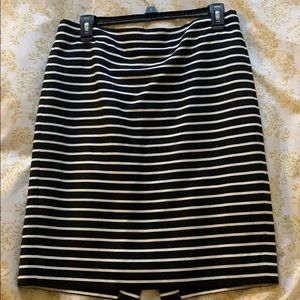 J. Crew black and white striped pencil skirt